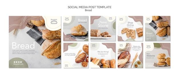 Bread concept social media post template Free Psd
