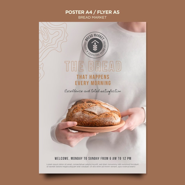 로고 포스터 템플릿 빵 시장 무료 PSD 파일