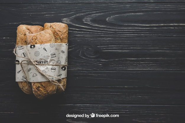 Bread mockup with copyspace Free Psd