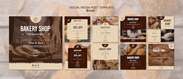Bread social media post template Free Psd