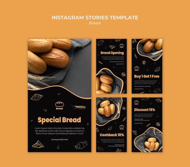 Modello di storie di instagram di negozio di pane Psd Gratuite