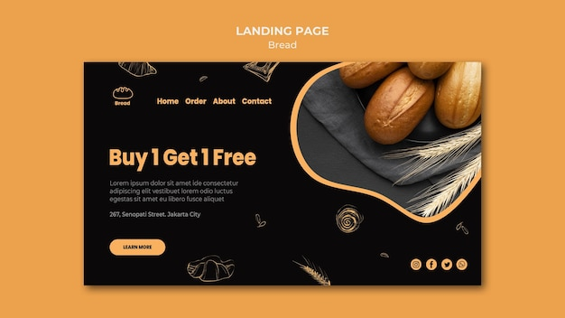 Bread store landing page template Free Psd