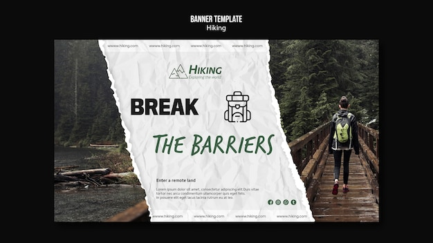 Break the barriers hiking template Free Psd
