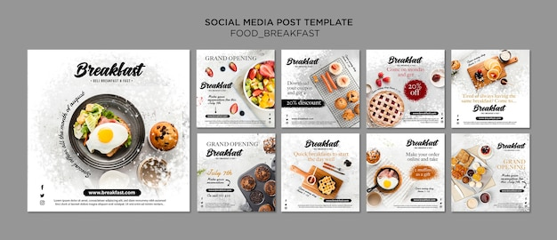 Breakfast concept instagram post collection Premium Psd
