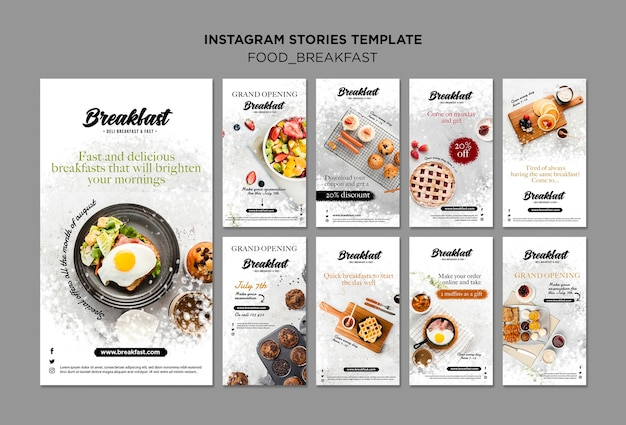 Breakfast concept instagram stories collection Free Psd