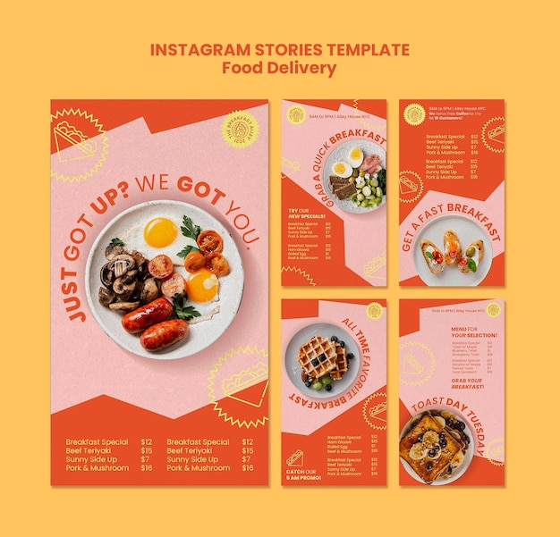 Breakfast delivery social media stories Free Psd