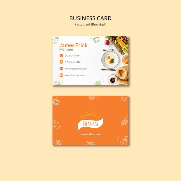 Breakfast food business card template Free Psd
