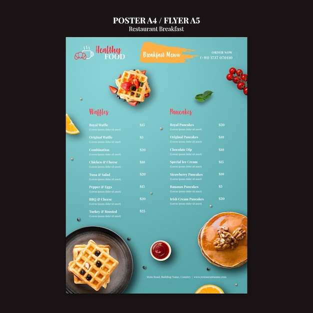 Breakfast menu poster template Free Psd