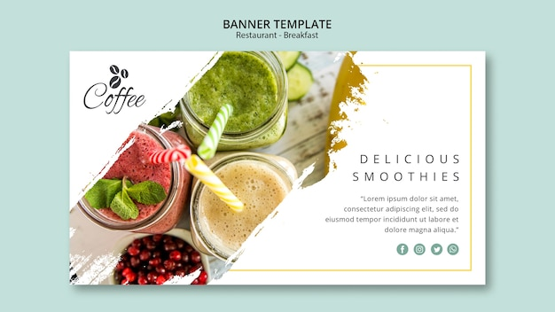 Breakfast restaurant banner template with photo Free Psd