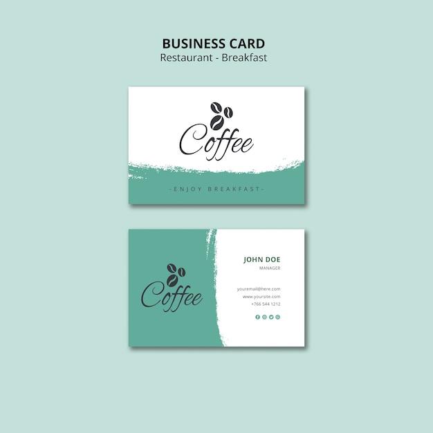 Шаблон визитной карточки ресторана завтрак Бесплатные Psd