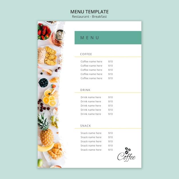 Шаблон меню ресторана завтрак Бесплатные Psd