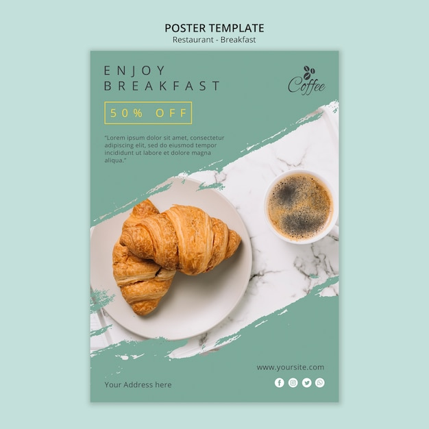 Breakfast restaurant poster template with photo Premium Psd