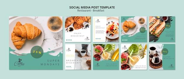 Breakfast restaurant social media posts template Free Psd