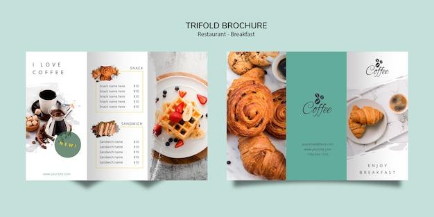Breakfast restaurant trifold brochure template Free Psd