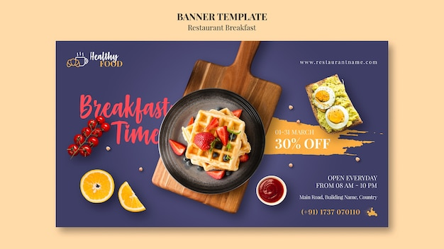 Breakfast time banner template Free Psd