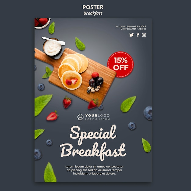 Breakfast time flyer template Free Psd