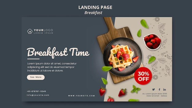 Breakfast time template banner Free Psd