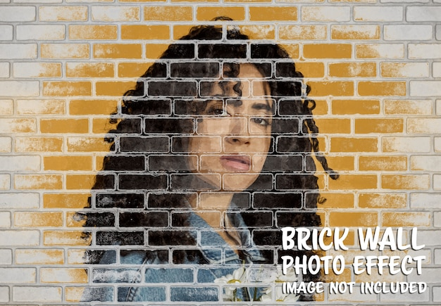 Brick wall photo effect mockup Premium Psd