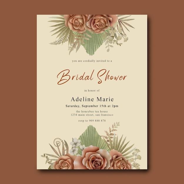수채화 열대 장미와 잎 신부 샤워 카드 템플릿 프리미엄 PSD 파일