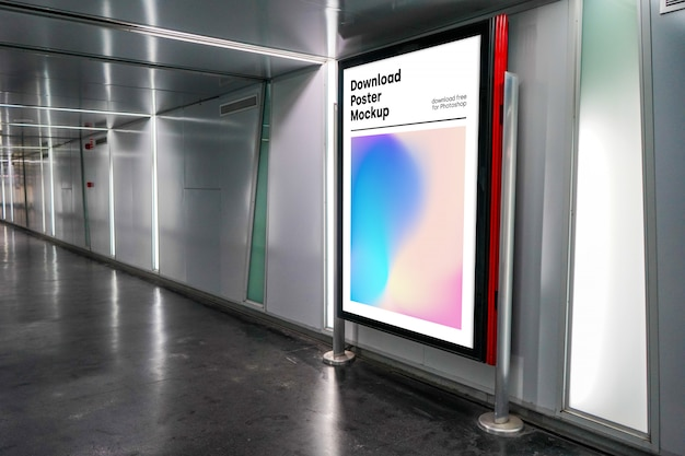 Bright billboard mockup in underground Free Psd