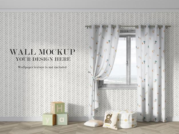 Яркий дизайн макета стены детской комнаты Premium Psd