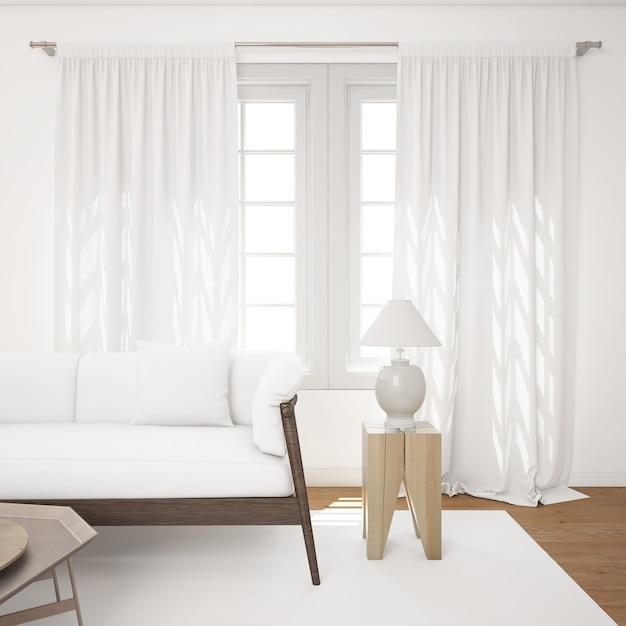 Светлая гостиная с белым макетом дивана Бесплатные Psd