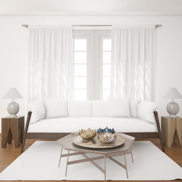 Светлая гостиная с макетом белого дивана Бесплатные Psd