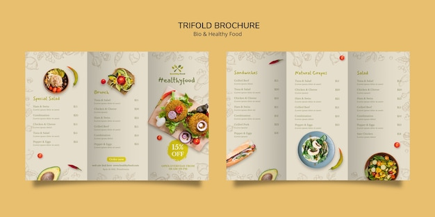 Brochure of healthy and bio food template Free Psd