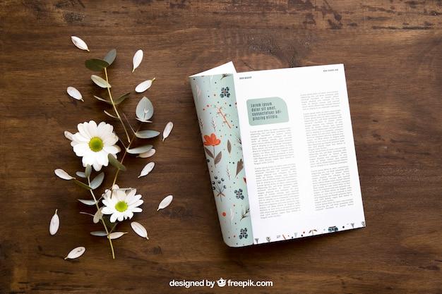 안내 책자 이랑 및 잎 프리미엄 PSD 파일