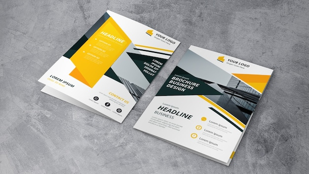 Brochure mockup of two Free Psd