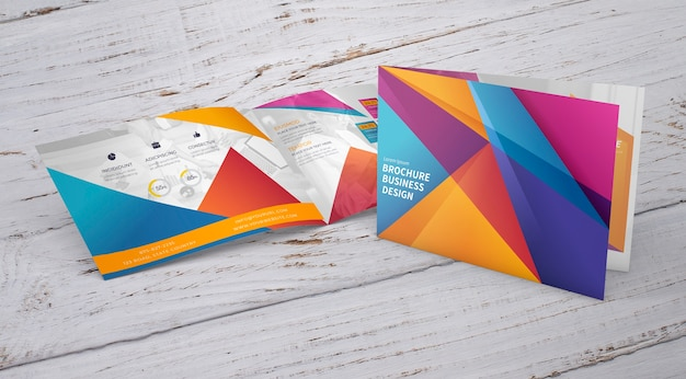 Brochure mockup with presentation concept Free Psd