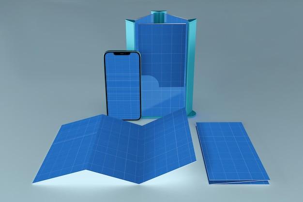 브로셔 및 스마트 폰, 3d 렌더링 프리미엄 PSD 파일