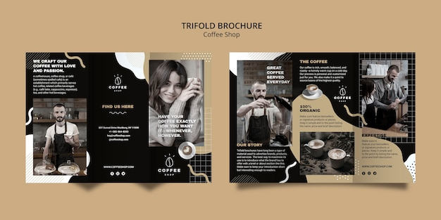 Brochure template for coffee shop Free Psd