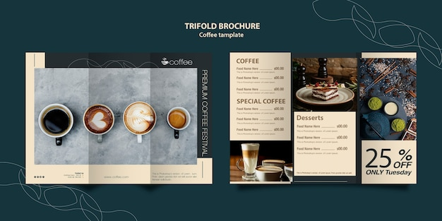 Brochure template concept with coffee Free Psd