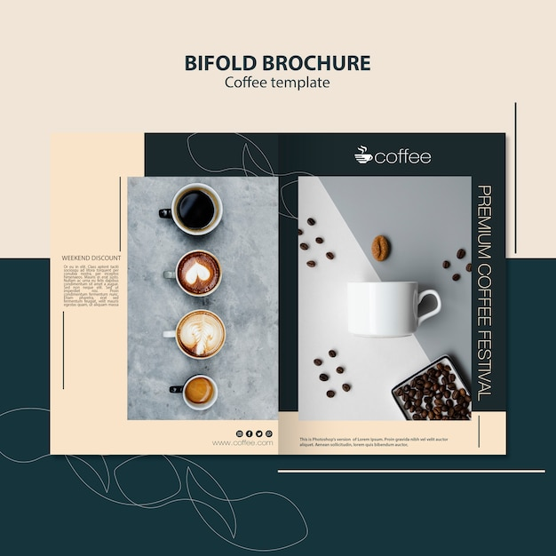 Brochure template theme with coffee Free Psd