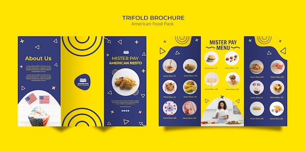 Brochure template with american food design Free Psd