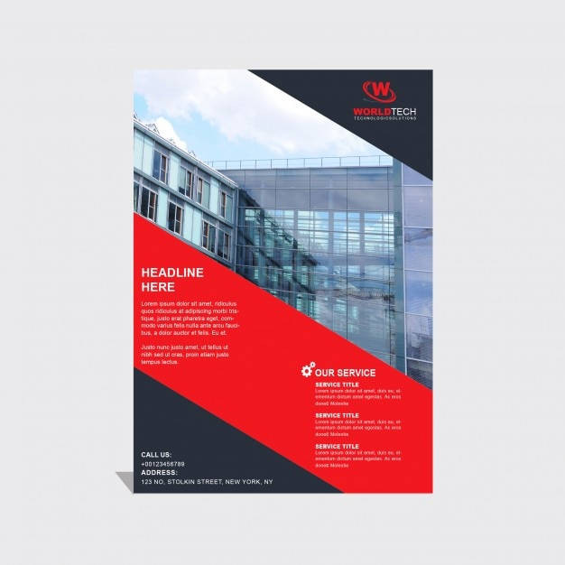 Brochure template with black and red geometric shapes PSD file ...