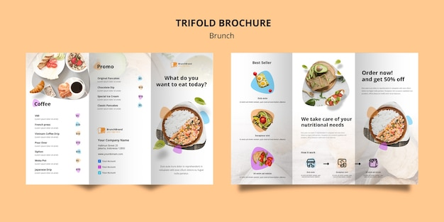 Brochure template with brunch theme Free Psd