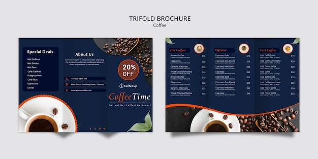 Brochure template with coffee concept Free Psd