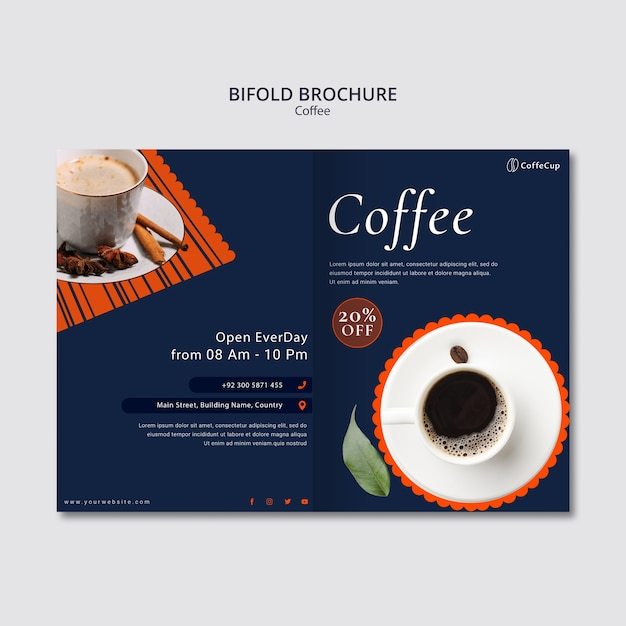 Brochure template with coffee Free Psd