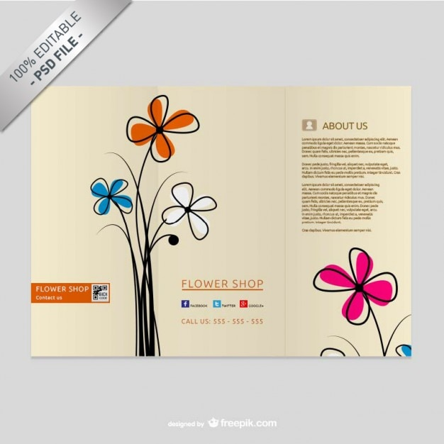 Brochure template with flowers Free Psd
