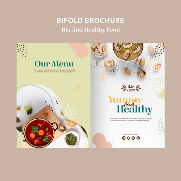 Brochure template with healthy food concept Free Psd