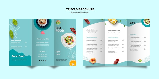 Brochure template with healthy food Free Psd