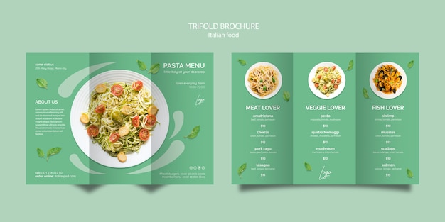 Brochure template with italian food concept Free Psd