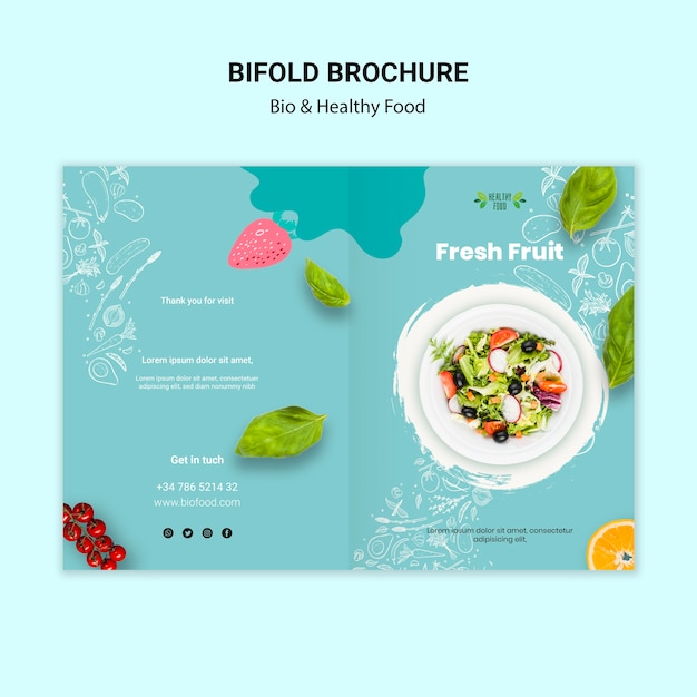 Brochure with healthy food concept Free Psd
