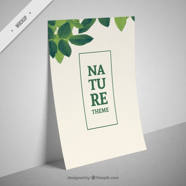 Brochure with leaves decoration Free Psd