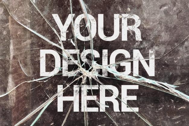 Broken glass logo mockup Premium Psd
