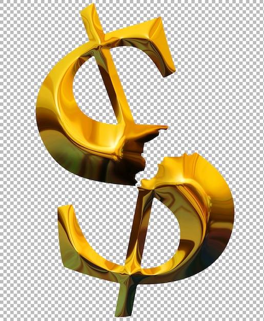 Broken gold dollar Premium Psd
