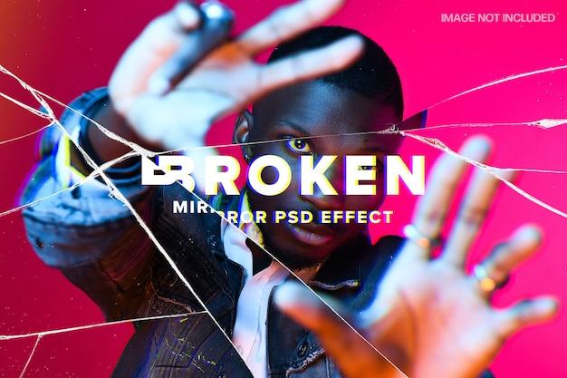 Broken mirror photo effect template Premium Psd