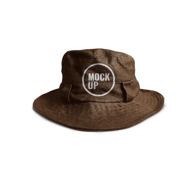 Brown bucket hat mockup realistic Premium Psd
